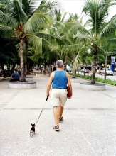 A foreign resident walks his dog on Pattaya's beach promenade.